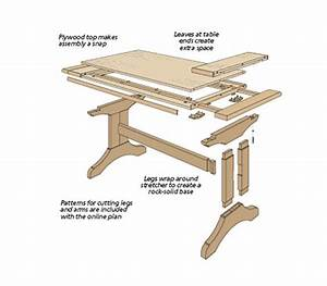 Slide-Out Trestle Table Woodsmith Plans