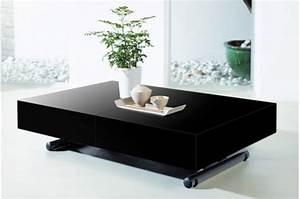 Table Basse Noire Design : table basse relevable rallonge noir laqu ~ Carolinahurricanesstore.com Idées de Décoration