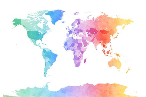 world color watercolour world map soft colors wall mural photo