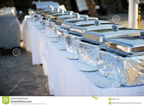 Banquet Table With Chafing Dishes Stock Photos Image