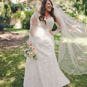 plus size vintage wedding dresses plus size sheer sleeves wedding dress 2016 shoulder trumpet lace bridal gowns