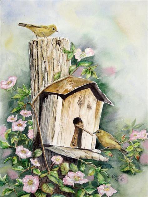 original watercolor  birdhouse  yellow warblers