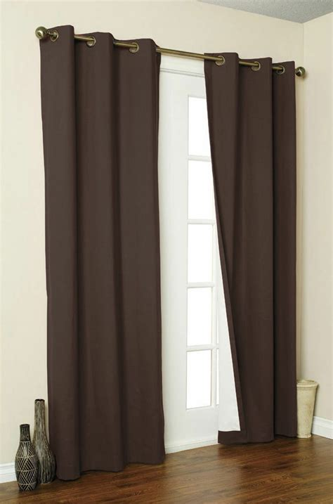 2 Grommet Curtains by 2 Chocolate Panel Blackout Thick Silver Grommet Window
