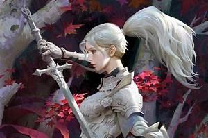 Warrior, Women, Blue, Eyes, Ponytail, Fantasy, Girl, Knight, Sword, Armor, Armored, Leaves
