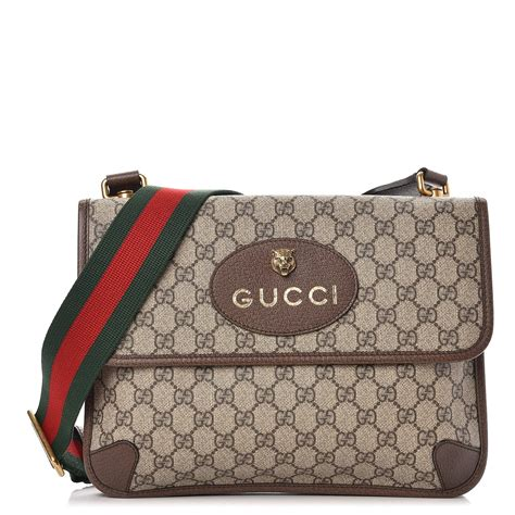 gucci gg supreme monogram neo vintage web messenger bag brown  fashionphile
