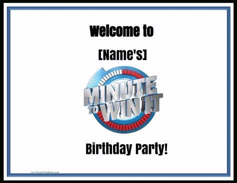 They do not really intend to pay anything for it, however they do anyway. Free Printable Minute To Win It Invitations | Free ...