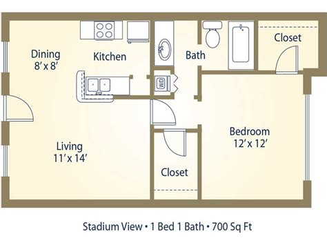 1 Bedroom Apartments 700 by Apartment Floor Plans Pricing Stadium View College