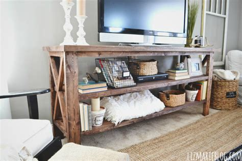 rustic tv console table diy rustic x base console table the chronicles of home