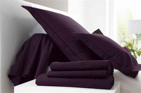 chambre violet aubergine parure de lit 2 places 4 pièces 100 coton violet