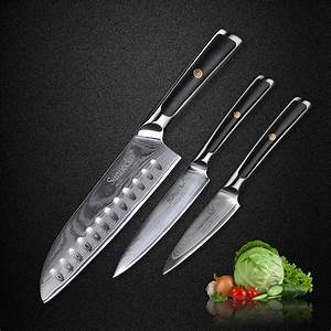 Sunnecko, Kitchen, Knives, Set, Damascus, Japanese, Vg10, Steel, Santoku, Utility, Paring, Knife, G10, Handle