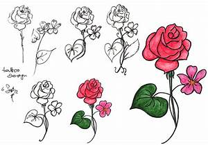 Anna Cull rose and violet tattoo design | in the art cave