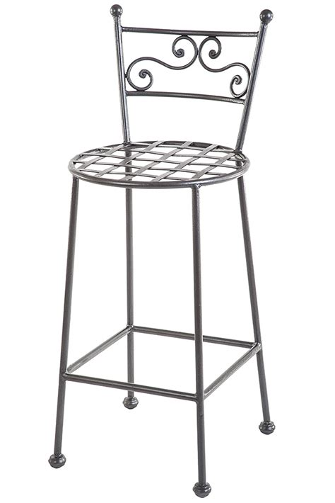 Sgabelli In Ferro Battuto by Wrought Iron Stool With Rounded Base And Decorated Back