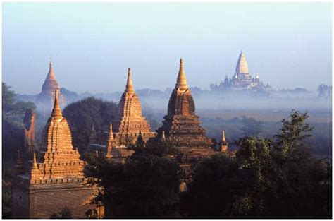 Photo of the Sunrise on the pagodas of Bagan. Myanmar