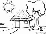Hut Tree Coloring Sun African Template Colouring Huts Sketch Kidopo Nature Forest Credit Larger sketch template