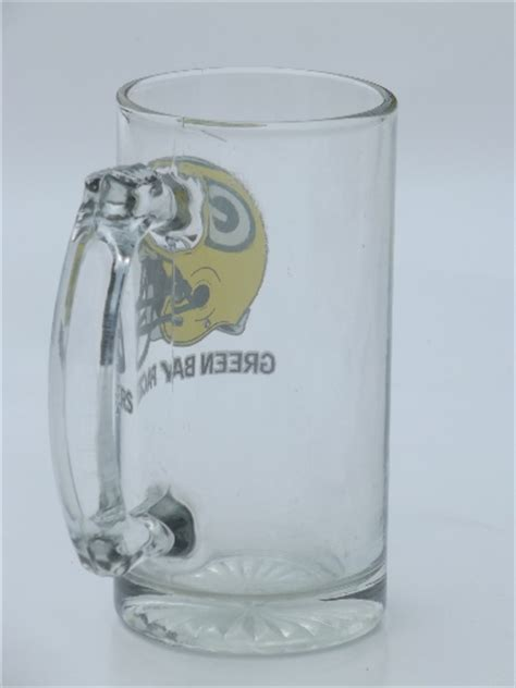 vintage green bay packers football helmet logo glass mug