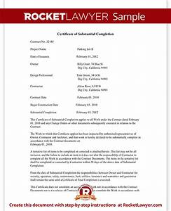 Certificate of substantial completion form for construction with sample for Certificate of substantial completion template