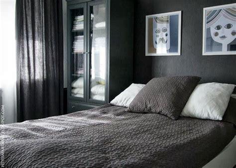 dark black grey wall bedroom  grey curtains  alina
