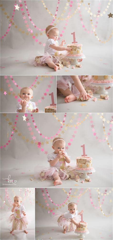 pink gold twinkle  star st birthday cake smash