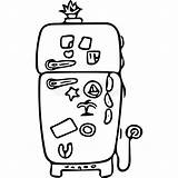 Fridge Coloring Funny Drawing Illustration Kitchen sketch template