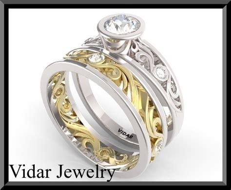 White And Yellow Gold Wedding Ring Set