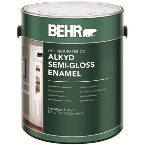 behr behr interior exterior alkyd semi gloss enamel paint
