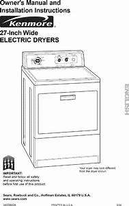 Kenmore 11060902990 User Manual Electric Dryer Manuals And
