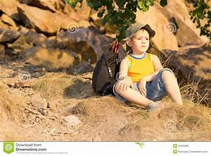 Little Boy Resting With His Rucksack Royalty Free Stock ...