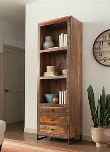 Bookcase With Three Shelves  Three Drawers With Metal