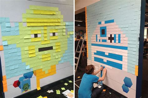 bureau post it workers use 3 579 post it notes to turn boring office
