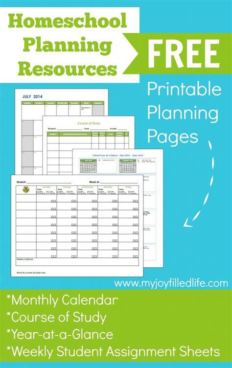 printable homeschool planning pages  homeschool