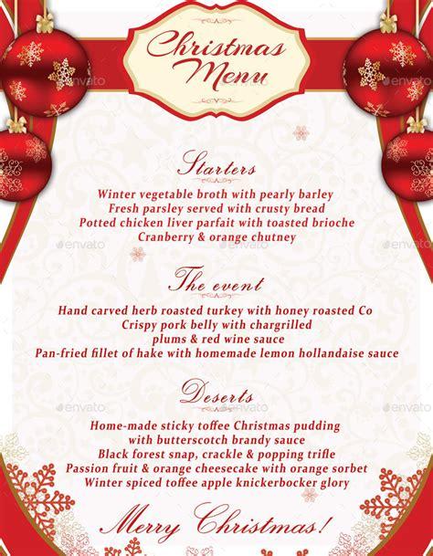 christmas menu template  oloreon graphicriver