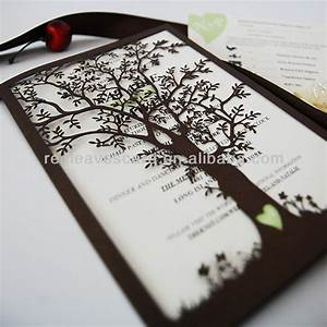 new arrival ic1402 01 red leaves laser cut oak tree With alibaba wedding invitations tree