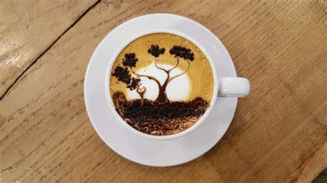 Easy coffee painting for beginners will teach you step by step how to mix your coffee paint. How To Latte Art: A Sunset Tree - YouTube