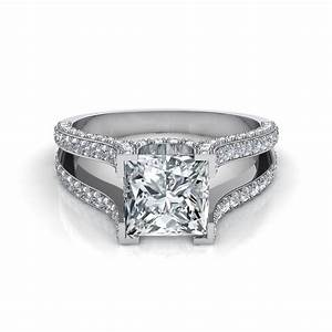 princess cut split shank engagement ring With split shank wedding ring