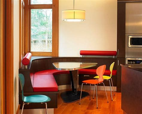 table with built in l l shaped red kitchen tables with bench seating best
