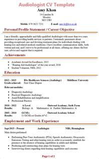 Audiologist Resume Template by Audiologist Cv Template 1