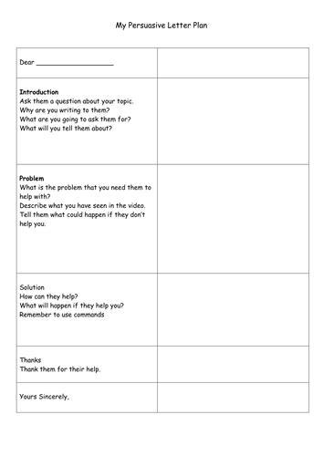 persuasive letter plan  caitrionahansen teaching
