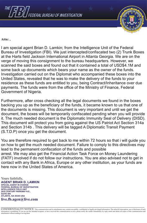 bureau fbi email scam exles from the federal bureau of