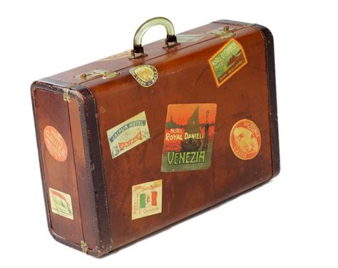 Travel Tattoo Antique Suitcase Covered In Stickers Or