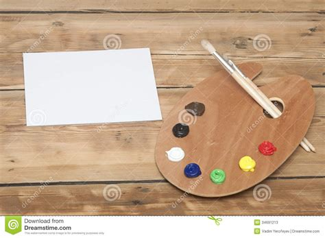 Furniture Blanks For Painting by Blank White Card Paper Palette Paint Brushes Wooden Paint