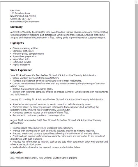 automotive warranty administrator resume template