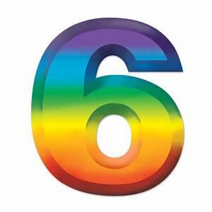 Party Decorations - Multi-Color Plastic 3-D Number ''6