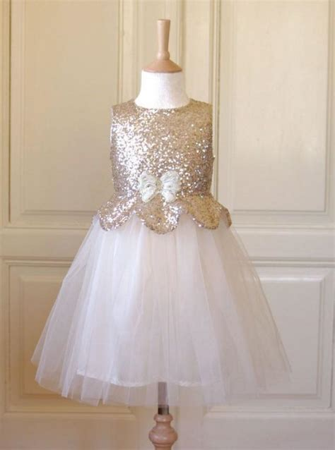 pale gold flower girl dress wedding winter bridesmaid