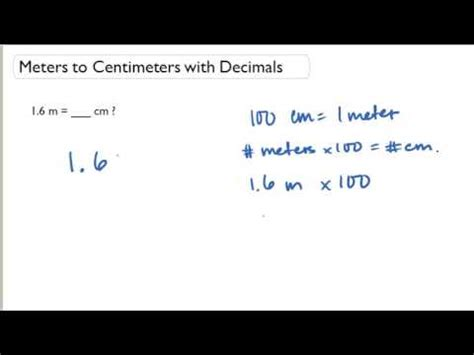 meters to centimeters with decimals youtube