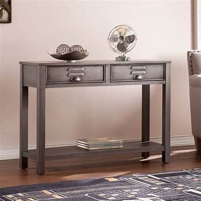 Table Metal Console Industrial Gray Renovation Enterprises