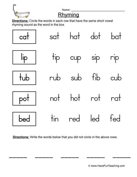 rhyming worksheets teaching