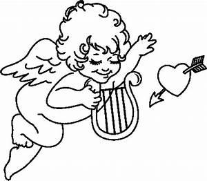 Engelchen Mit Hrfe Ausmalbild Malvorlage Amor