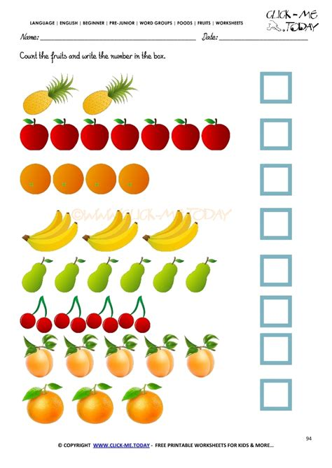 fruits worksheet  counting fruits worksheet