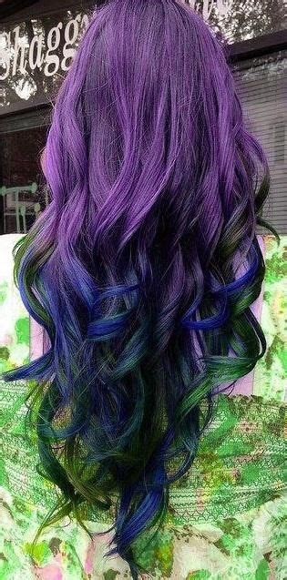 Purple Hair Blue Green Tips Hairstyles And Beauty Tips