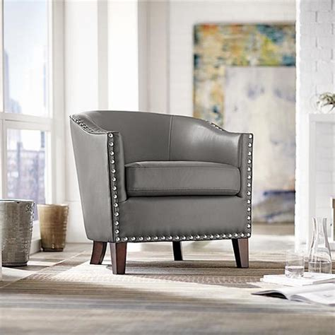 barrel rounded modern club chair gray leather silver